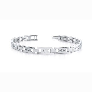 Men Single Diamond Buckle Link Bracelet